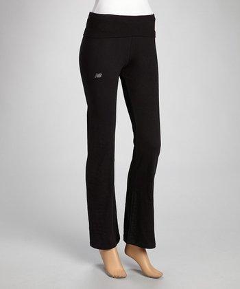 Black Fold-Over Knit Jersey Yoga Pants