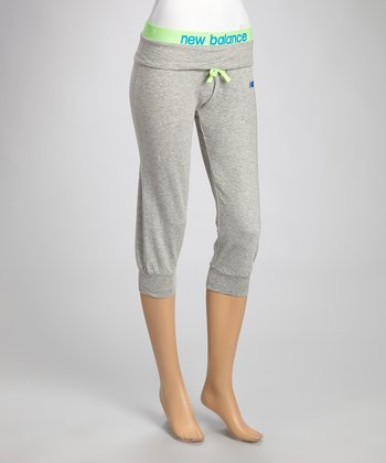 Heather Gray & Lime Loose-Fit Capri Pants