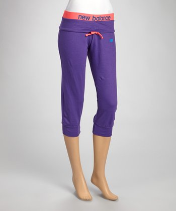 Purple & Coral Loose-Fit Capri Pants