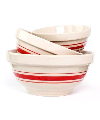 Red Stripe Nesting Bowl Set