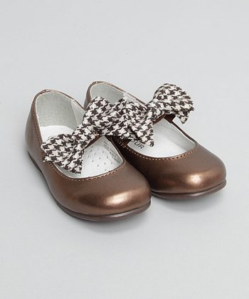 Brown Houndstooth Bow Flat
