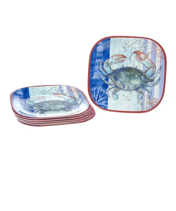 Crab Square Melamine Dinner Plate - Set of Six
