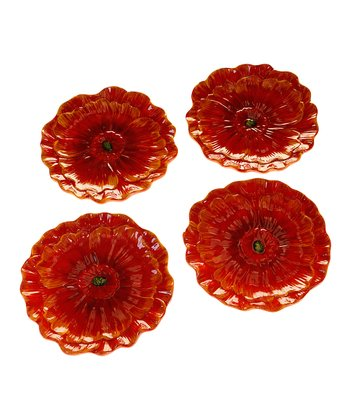 Midnight Poppies Dessert Plate - Set of Four