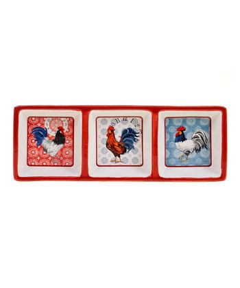 American Rooster Three-Section Relish Tray