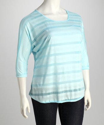 Light Blue Plus-Size Burnout Top
