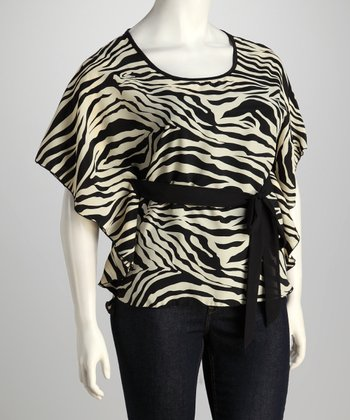 Black & Ivory Zebra Belted Plus-Size Dolman Top