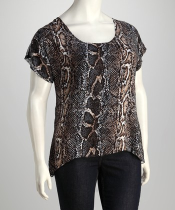 Brown Snake Tie-Back Top - Plus