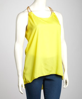 Yellow Chain-Strap Plus-Size Racerback Tank