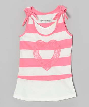 Pink & White Stripe Heart Layered Tank - Toddler & Girls