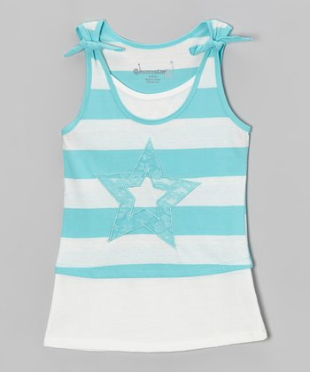 Aqua & White Stripe Star Layered Tank - Toddler & Girls