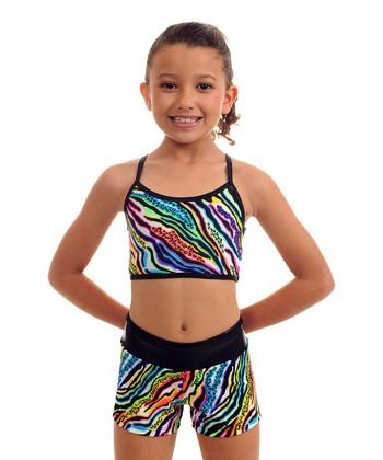 TumbleWear Black Zebra Zoo Paint Sports Bra & Shorts - Girls