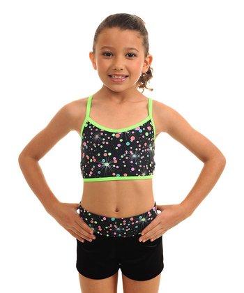 TumbleWear Lime Galaxy Sports Bra & Shorts - Girls
