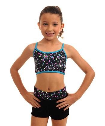 TumbleWear Turquoise Galaxy Sports Bra & Shorts - Girls