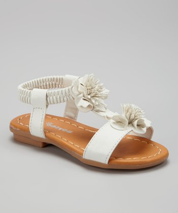 White Double Flower Sandal
