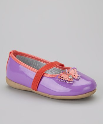 Purple & Coral Butterfly Flat