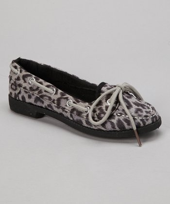 Gray Leopard Loafer