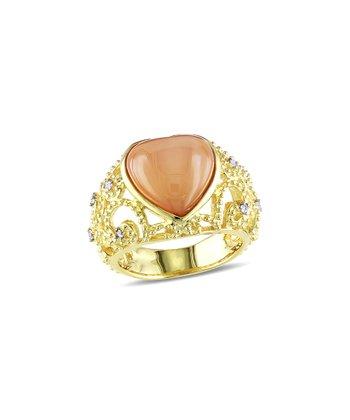 Orange Moonstone & Diamond Heart Ring