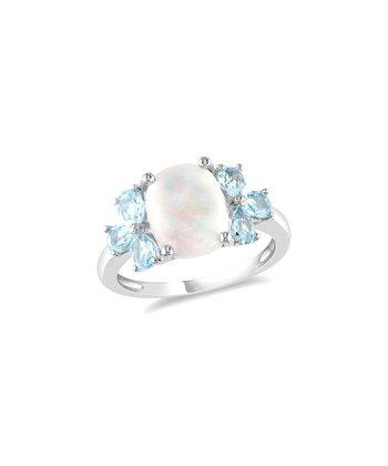 Sky Blue Topaz & Opal Blossom Ring