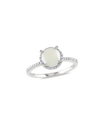 White Opal & Diamond Framed Circle Ring