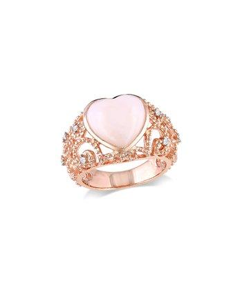 Pink Opal & Diamond Heart Ring