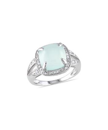 Blue Chalcedony & Diamond Square Ring