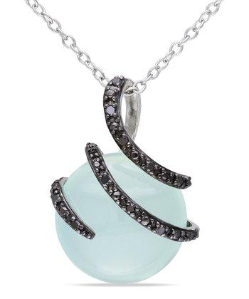 Black Diamond & Blue Chalcedony Circle Pendant Necklace