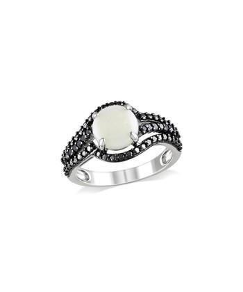 Black Diamond & Opal Circle Wave Ring