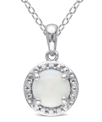 White Opal & Sterling Silver Framed Circle Pendant Necklace