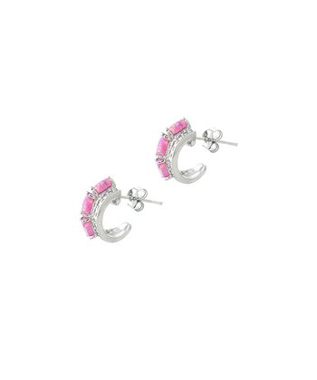 Pink Opal Curved Stud Earrings