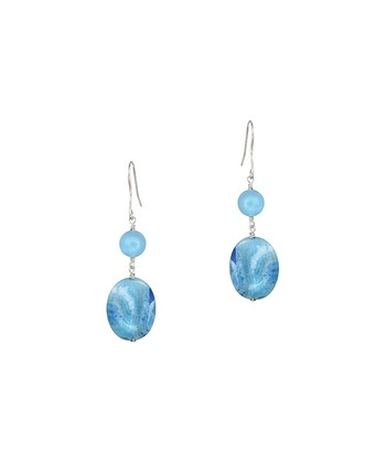 Blue Agate & Quartz Flat Oval Drop Earrings