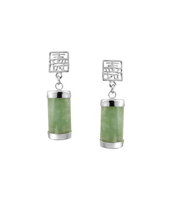 Jade & Sterling Silver Symbol Drop Earrings