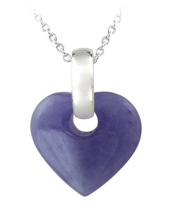 Lavender Jade & Sterling Silver Heart Pendant Necklace