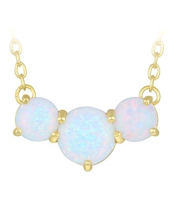 Opal & Gold Three Circles Pendant Necklace