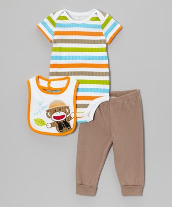 Orange & Tan Sock Monkey Bodysuit Set - Infant