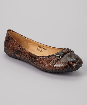 Brown Snakeskin Flat