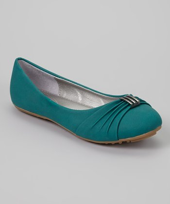 Teal Ruched Toe Flat