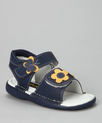 Navy Flower Double-Strap Sandal