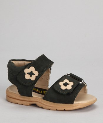 Dark Green Flower Double-Strap Sandal