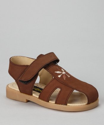 Brown Flower Closed-Toe Sandal