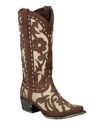Brown & Ivory Floral Poison Cowboy Boot - Women