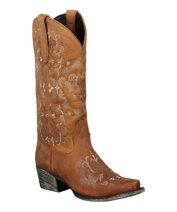 Brown Embroidered Talousse Cowboy Boot