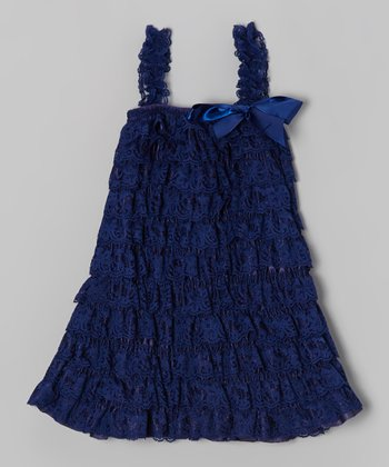 Navy Lace Tiered Ruffle Dress - Infant, Toddler & Girls