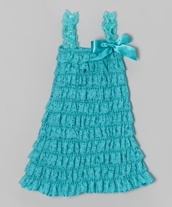 Turquoise Lace Tiered Ruffle Dress - Infant, Toddler & Girls