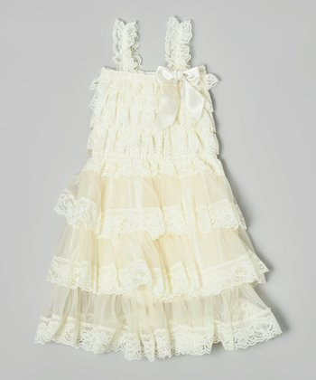 Ivory Lace Three Tier Dress - Infant, Toddler & Girls