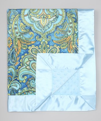 Aqua Laura Blue Dot Stroller Blanket