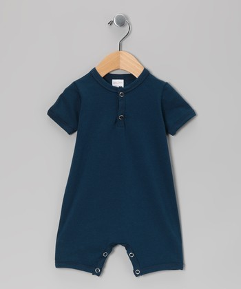 Navy Blue Henley Romper - Infant