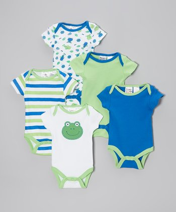 Green & Blue Bodysuit Set - Infant