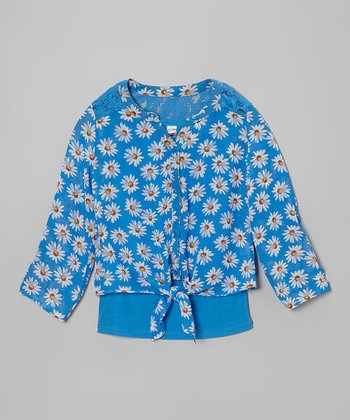 Blue Chiffon Daisy Tie Top & Tank