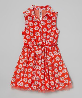 Hot Coral Daisy Belted Dress