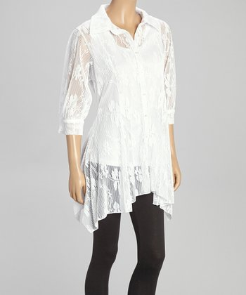 White Lace Sheer Button-Up Tunic - Women & Plus